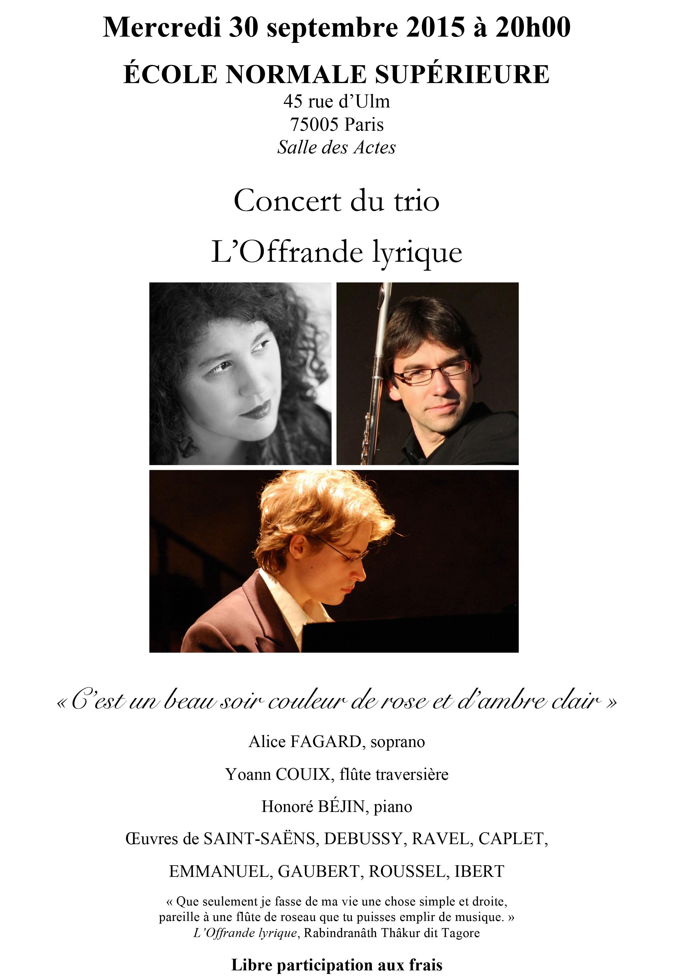 Concert mercredi 30 septembre